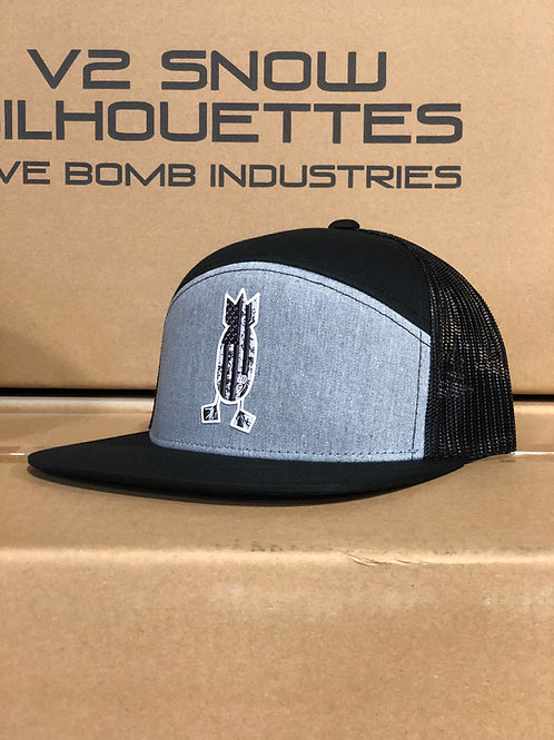 6-PANEL Blackout American Flag Hat, Black / Heather Grey
