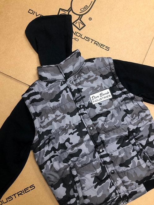 Hooded Nylon Vest with Fleece Sleeves & Dive Bomb Patch, Black Camo/Black