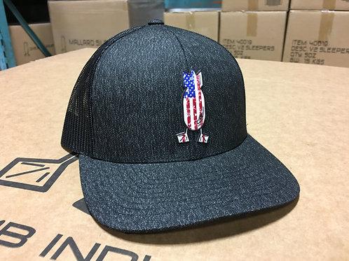 Distressed American Flag, Black heather / black