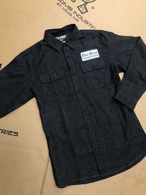 Long Sleeve Flannel with Dive Bomb Patch, Charcoal