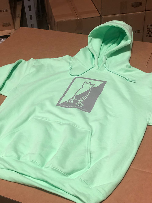 Mint hoodie with grey, split logo