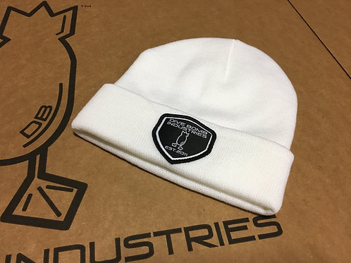 White Knit Beanie with Woven Black DB Shield