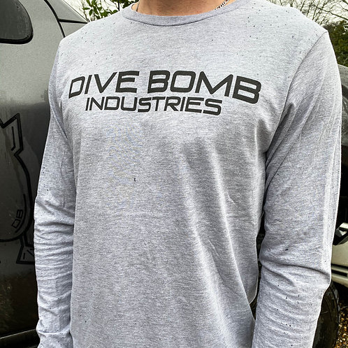 Comfort Plus Long Sleeve Tee, Athletic Heather Grey with black print