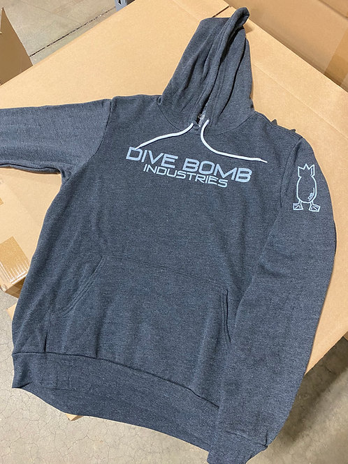 Hoodie, Grey Fleece with White Wash Print