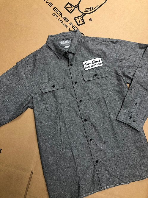 Long Sleeve Flannel with Dive Bomb Patch, Heather Grey