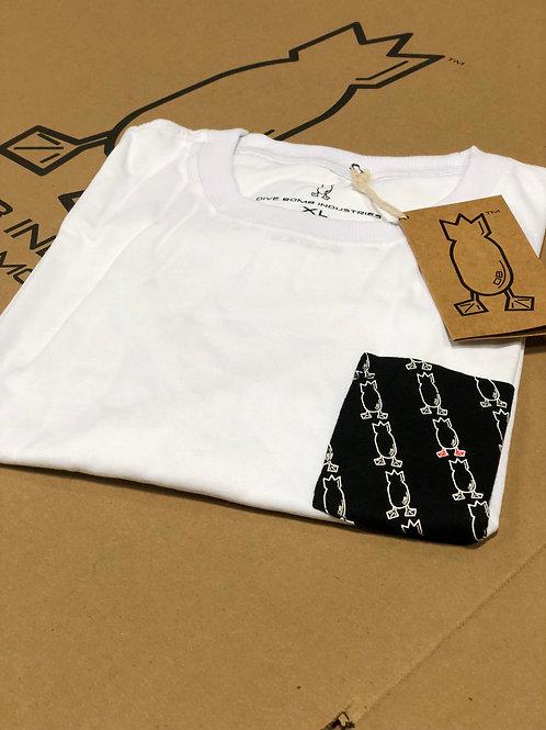 T-Shirt white with black logo'd pocket