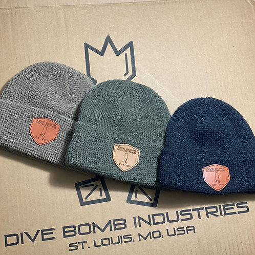 Waffle Knit Beanie with Leather DB Shield
