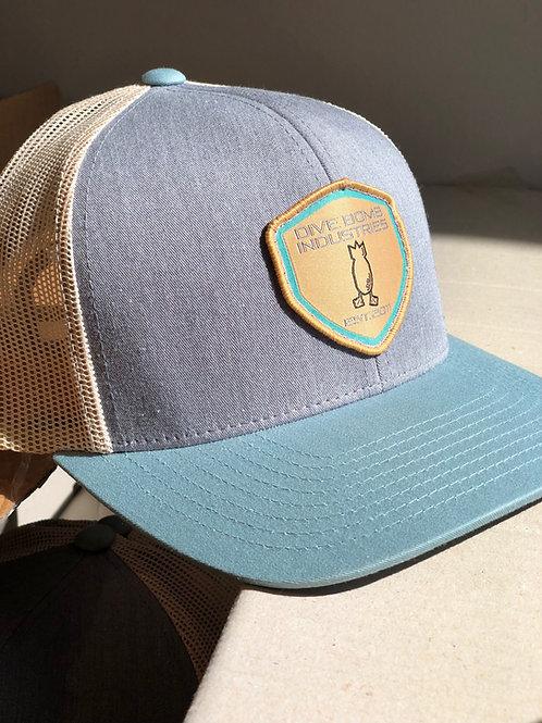 DB Shield Hat, Blue Front, Light Blue Bill