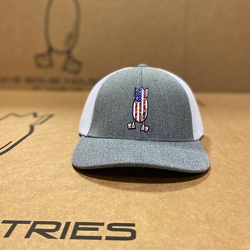FLEXFIT Distressed American Flag Hat, Grey Heather / White