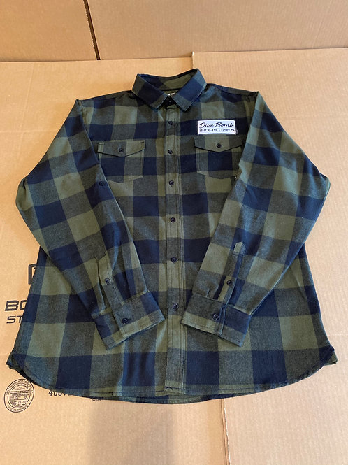 Long Sleeve Flannel with Dive Bomb Patch, Olive/Navy