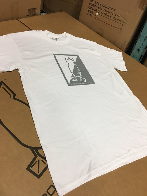 White Short-Sleeve T-shirt with Grey Split Logo