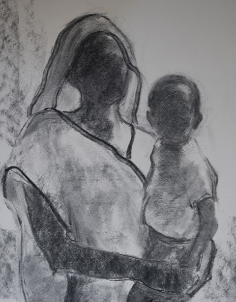 Holding the baby Charcoal
