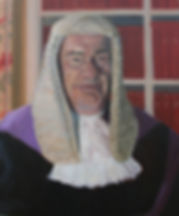 portrait, portrait painting, portrait of judge, oil, oil on canvas, judge, portrait of judge, full bottomed wig, wig, law, painting from life, clare granger, contemporary art, british art, contemporary british,