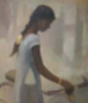 modern british, modern art, young girl, India, bike, bicycle, biking, cycling, yellow, yellow ribbon, blue, blue dress, clare granger, artist, portrait painter, contemporary art, contemporary british,