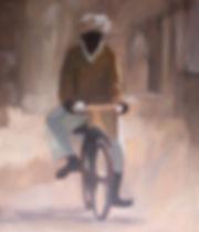man on bike, modern british, modern art, bicycle, bike, India, rajasthan, clare granger, contemporary art, contemporary british, artist, portrait painter,
