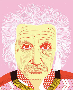 illustration, colorful, rainbow, graphic design, retro, vintage, illustration, art, mixed media, acrylic, aqua, pink, einstein