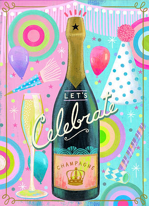 illustration, painting, celebrate, party, acrylic, mixed media, collage, bright meets clever, lori ors, champagne, fun