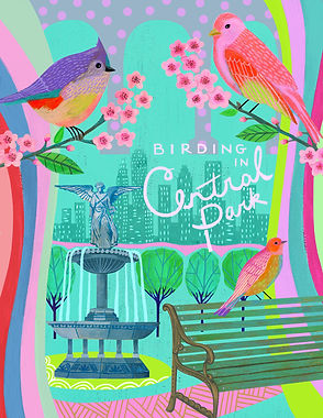 birding, lori ors, colorful, acrylic, mixed media, illustration, new york, central park, bright meets clever, rainbow, birds, park, illustration