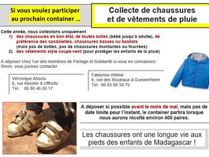 """""""Collecte de chaussures et vêtements de pluie"""""""