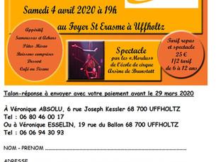 « repas solidaire avec menu malgache, et spectacle par les enfants de l'école de cirque de Mulhouse