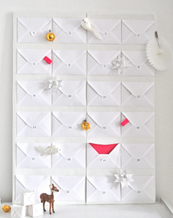 Advent calendar with white envelop