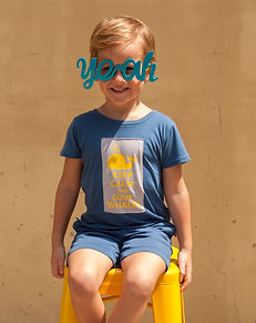 Boy wearting whale tshirt