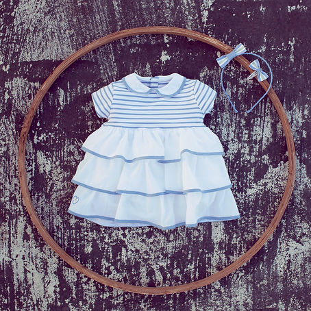 Striped dress and hair accessories