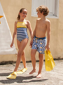 Boy and girl in swimsuits