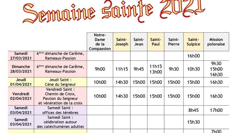 Horaires (réactualisés) de la Semaine Sainte 2021 à Aulnay (93)