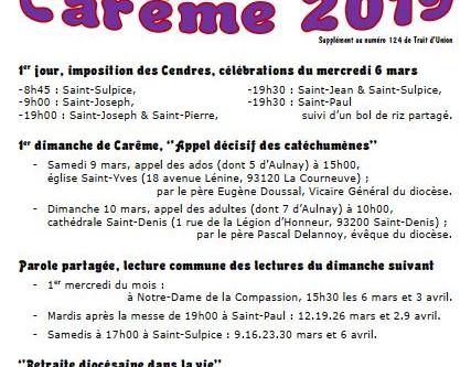Horaires de célébration Carême 2019