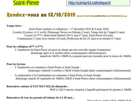 Calendrier 2019-2020 des enfants et ados de Saint-Pierre