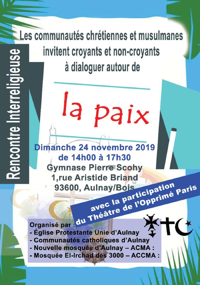 Rencontre interreligieuse Aulnay 24 novembre 2019
