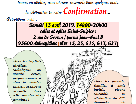 Préparation Confirmation Aulnay 2019