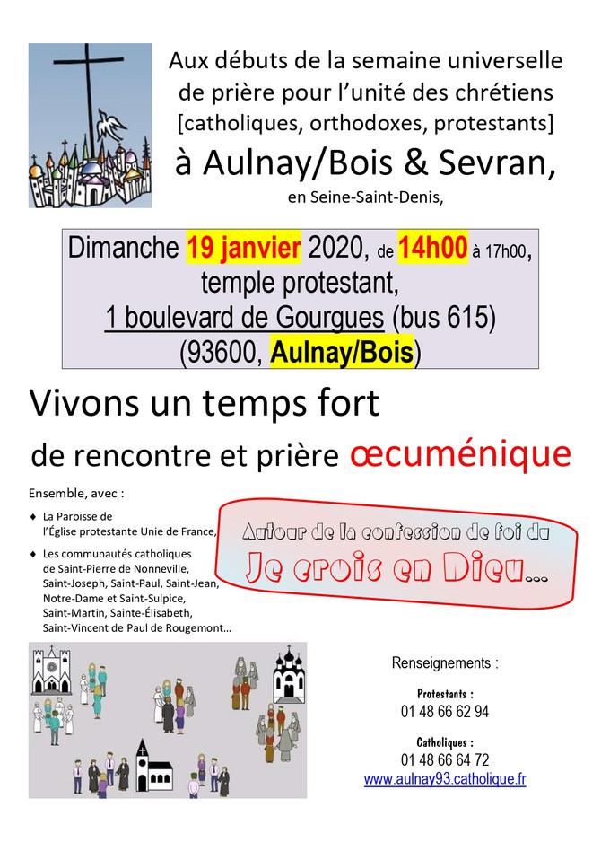 Rencontre œcuménique 19 janvier 2020 Aulnay-Sevran