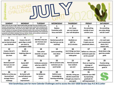 JULY 2020 Calendar Challenge