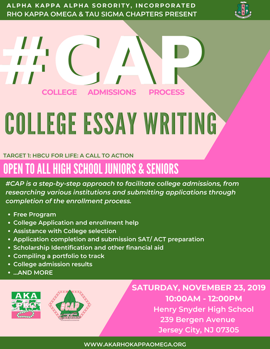 #CAP: COLLEGE ESSAY WRITING - November 23, 2019