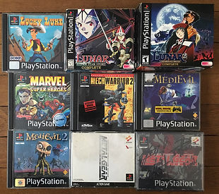 PS1 jeux collection lunar marvel metal gear solid medievil