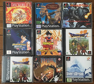 PS1 jeux collection DBZ dragon ball dragon quest 7 doom