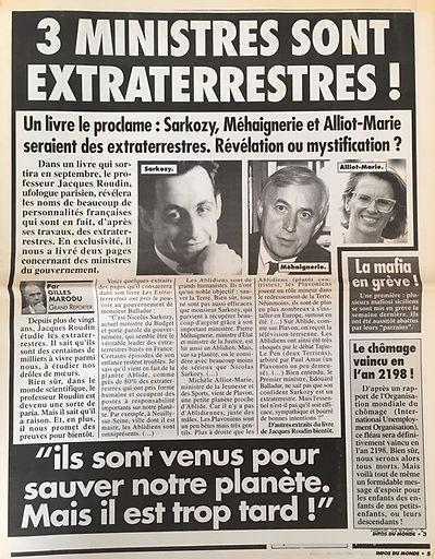 Infos du monde Sarkozy ET OVNI