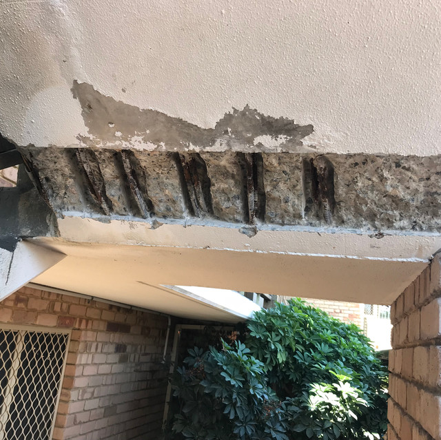 Concrete cancer at a common access area of a residential strata complex in West Perth