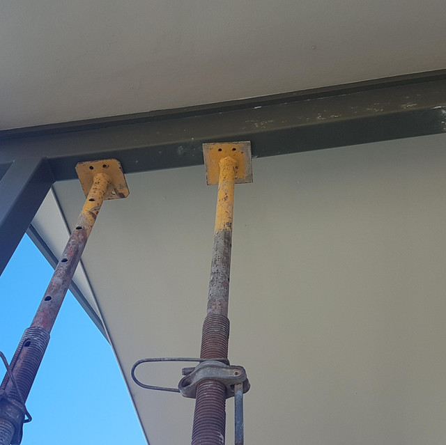 Structural supports in place for Conspar restoration works at a residential property in Scarborough where concrete cancer has been found.