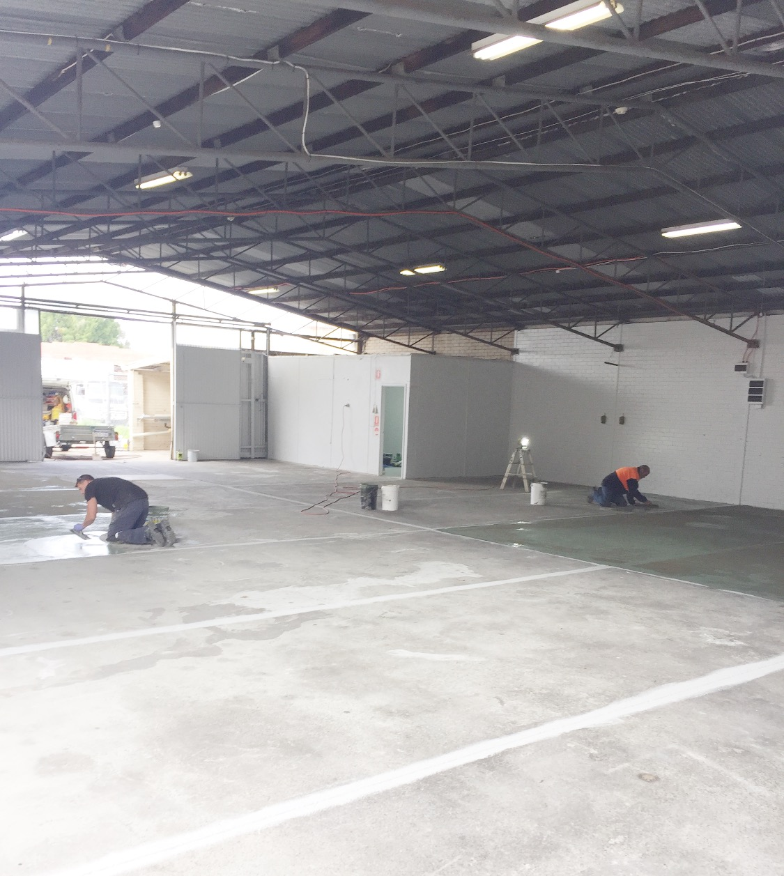 Conspar floor restoration works commence at this commercial warehouse in Bayswater.