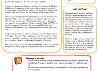 """Article 1 - Lombalgie chronique : Oui aux techniques """"Hand On"""" ?"""