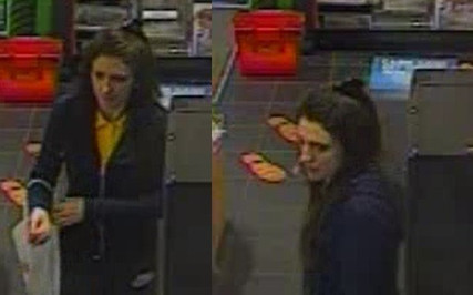 Female suspect fills her bag with food, cakes, coffee and a magazine