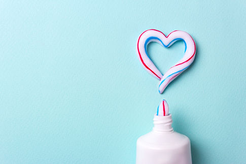 Heart symbol and love from toothpaste. C