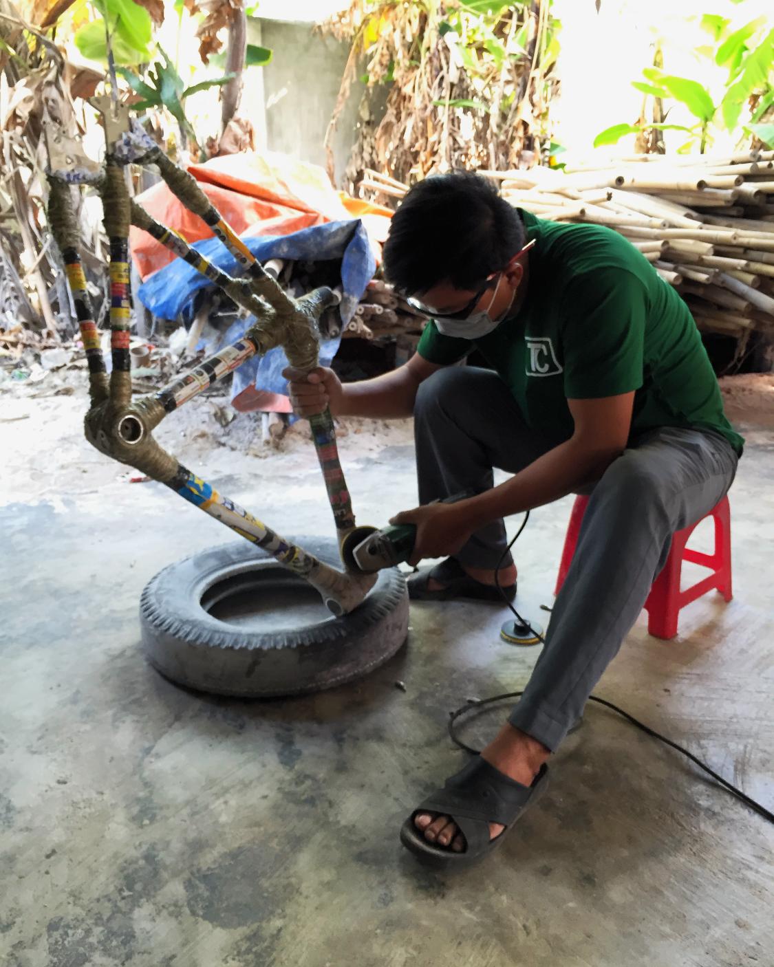 Bamboo frame grind