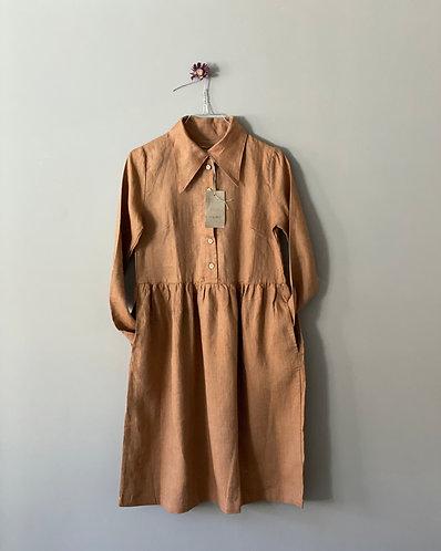 Shirt dress MARGOT long sleeve, cinnamon melange, XS