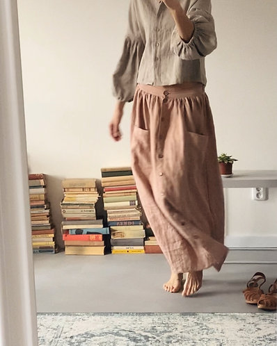 Women's linen skirt with buttons - altered length