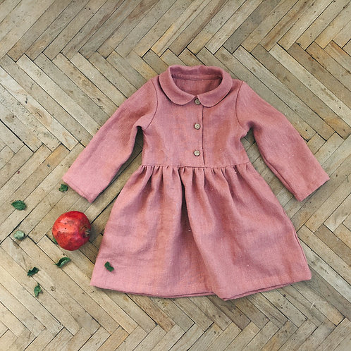 Girl's linen dress long sleeves with collar