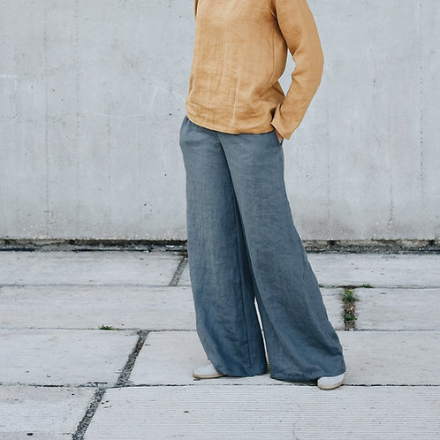 WOMEN'S LINEN WIDE LEG PANTS